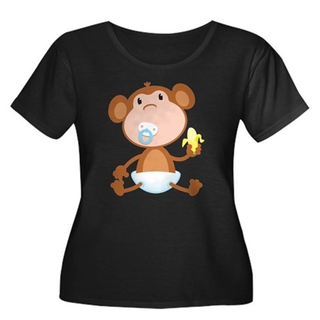 Pacifier Monkey Women's Plus Size Scoop Neck Dark