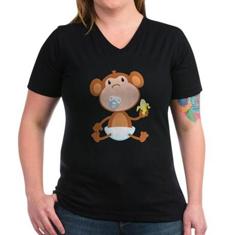 Pacifier Monkey Women's V-Neck Dark T-Shirt