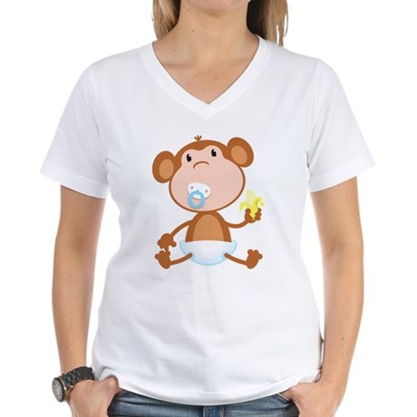 Pacifier Monkey Women's V-Neck T-Shirt