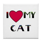 I LOVE MY CAT Tile Coaster