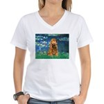 Lilies (5)/Cocker (br) Women's V-Neck T-Shirt