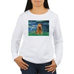 Lilies (5)/Cocker (br) Women's Long Sleeve T-Shirt