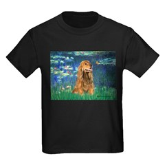 Lilies (5)/Cocker (br) Kids Dark T-Shirt