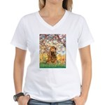 Spring /Cocker Spaniel (buff) Women's V-Neck T-Shi