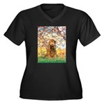 Spring /Cocker Spaniel (buff) Women's Plus Size V-