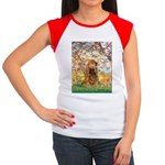 Spring /Cocker Spaniel (buff) Women's Cap Sleeve T