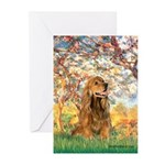 Spring /Cocker Spaniel (buff) Greeting Cards (Pk o