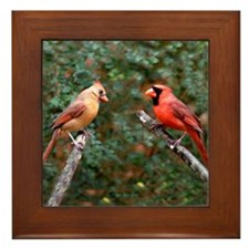 Two Cardinals Framed Tile