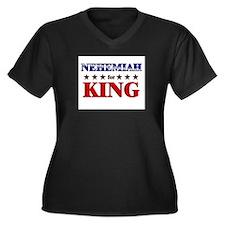 NEHEMIAH for king Women's Plus Size V-Neck Dark T-