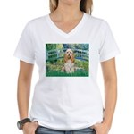 Bridge / Cocker Spaniel (buff) Women's V-Neck T-Sh