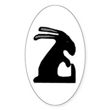 Folk Art Easter Bunny Oval Decal