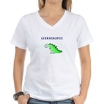 GEEKASAURUS Women's V-Neck T-Shirt