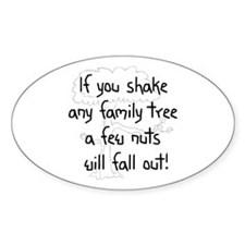 Shaking Family Tree (Black) Oval Decal