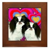 Japanese Chin Dogs Love Valentine Framed Tile