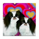 Japanese Chin Dogs Love Valentine Tile Coaster