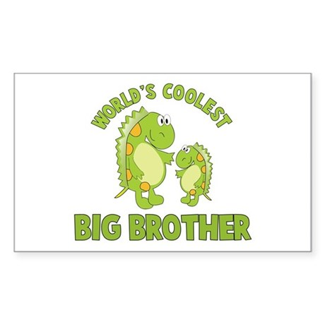 world's coolest big brother dinosaur Sticker (Rect
