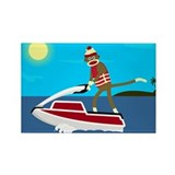 Sock Monkey Jet Ski Rectangle Magnet