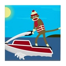 Sock Monkey Jet Ski Tile Coaster