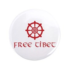 "Dharma Wheel Free Tibet 3.5"" Button (100 pack)"