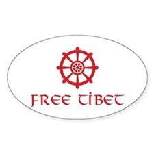 Dharma Wheel Free Tibet Oval Decal
