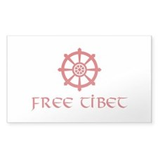 Dharma Wheel Free Tibet Rectangle Decal