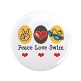 "Peace Love Swim Swimmer 3.5"" Button (100 pack)"