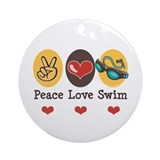 Peace Love Swim Swimmer Ornament (Round)