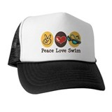 Peace Love Swim Swimmer Trucker Hat