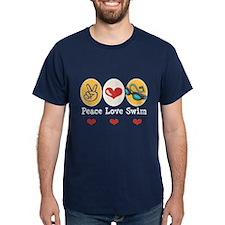 Peace Love Swim Team Swimmer T-Shirt