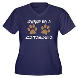 Owned By A Catahoula Women's Plus Size V-Neck Dark