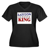 LAWSON for king Women's Plus Size V-Neck Dark T-Sh