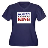 KOREY for king Women's Plus Size V-Neck Dark T-Shi