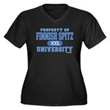 Finnish Spitz U. Women's Plus Size V-Neck Dark T-S