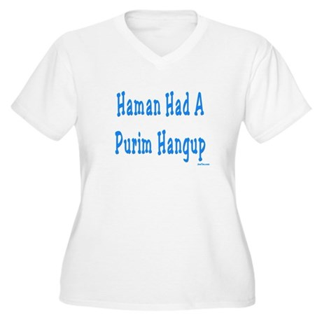 Haman had a Purim Hangup Women's Plus Size V-Neck