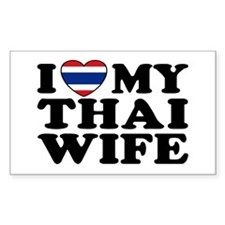 I Love My Thai Wife Rectangle Decal