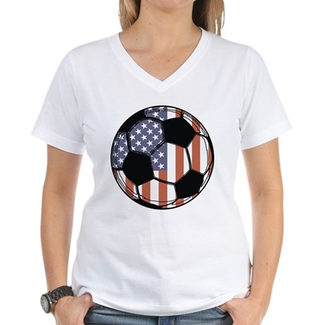 Soccer Ball USA Women's V-Neck T-Shirt