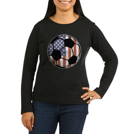 Soccer Ball USA Women's Long Sleeve Dark T-Shirt