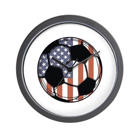 Soccer Ball USA Wall Clock
