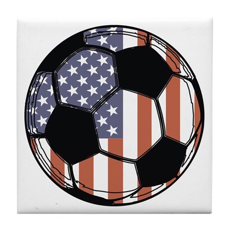Soccer Ball USA Tile Coaster