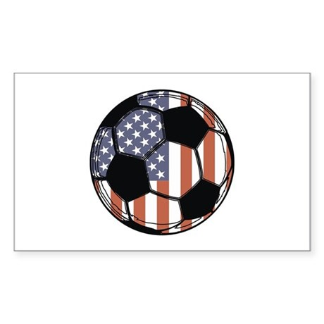 Soccer Ball USA Rectangle Sticker
