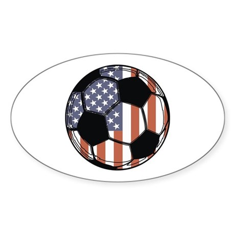 Soccer Ball USA Oval Sticker
