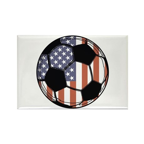 Soccer Ball USA Rectangle Magnet (100 pack)