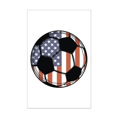 Soccer Ball USA Mini Poster Print