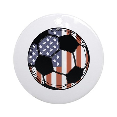 Soccer Ball USA Ornament (Round)