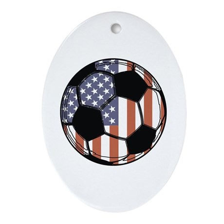 Soccer Ball USA Oval Ornament