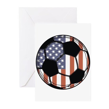 Soccer Ball USA Greeting Cards (Pk of 10)