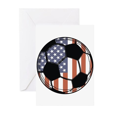 Soccer Ball USA Greeting Card