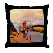Port of Trouville by Monet Throw Pillow