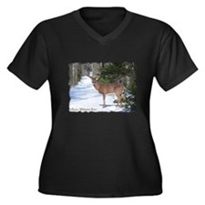 Winter Buck Women's Plus Size V-Neck Dark T-Shirt