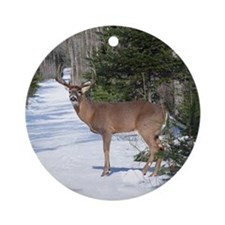 Winter Buck Ornament (Round)